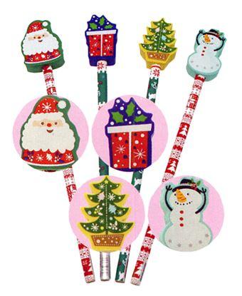 K20381 クリスマス消しゴム付鉛筆(4柄)【発注単位:24】 の画像