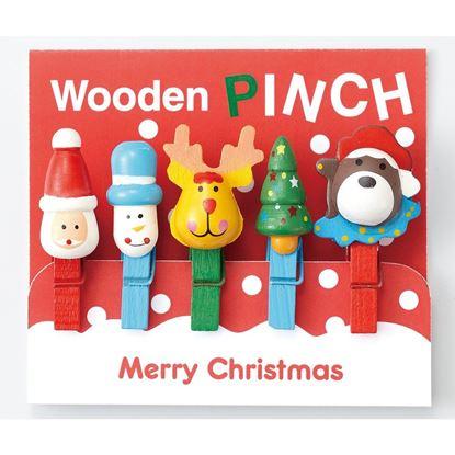 クリスマス木製ピンチ(5個セット) の画像