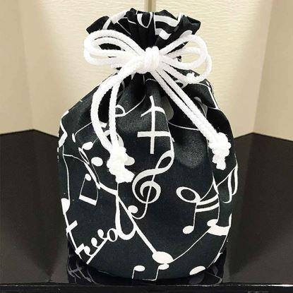 BGE140KCBL 音楽包巾着袋 音符/ブラック の画像