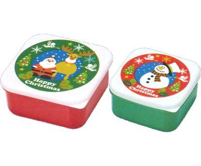 510835 ハッピークリスマス保存容器[2個セット] の画像