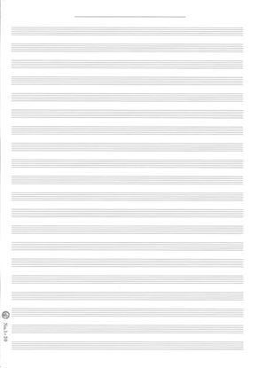 大判五線紙No.1―20段<オーケストラスコア用>(二つ折・10枚入り) の画像