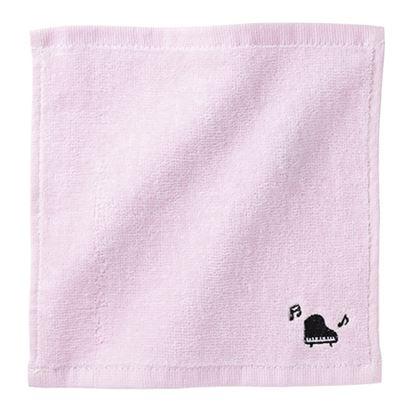 Pianoline グランドピアノ刺繍ハンドタオル(ピンク) の画像