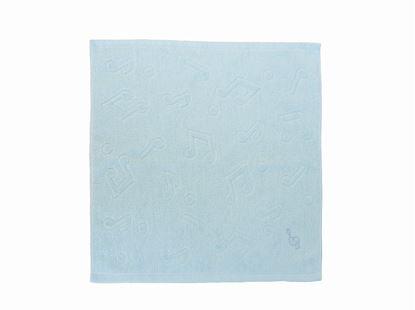 K20237-BL 音楽物語ト音記号刺繍付ウォッシュタオル(ブルー)袋入 の画像