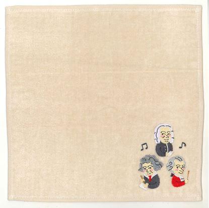CT-4 タオルハンカチ 作曲家たち(アイボリー) の画像