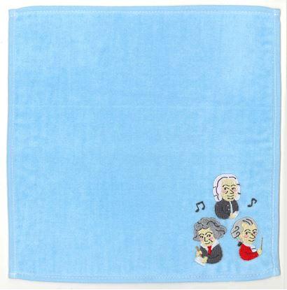 CT-6 タオルハンカチ 作曲家たち(ブルー) の画像