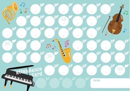 出席カード 楽器4【発注単位:10枚】 の画像