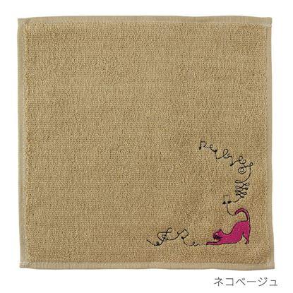 エンブロイダリー(刺繍)タオルハンカチ ネコ/ベージュ【発注単位:2 の画像