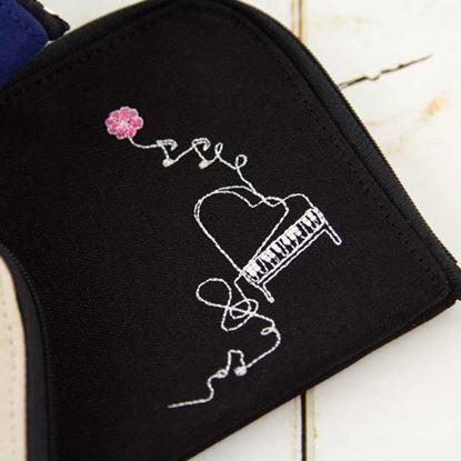 スケッチ刺繍マルチポーチ ピアノ/ブラック【発注単位:2個】 の画像