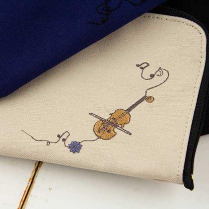 スケッチ刺繍マルチポーチ バイオリン/ベージュ【発注単位:2個】 の画像